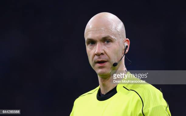Referee Anthony Taylor looks on during the UEFA Europa League Round of 32 second leg match between Ajax Amsterdam and Legia Warszawa at Amsterdam...
