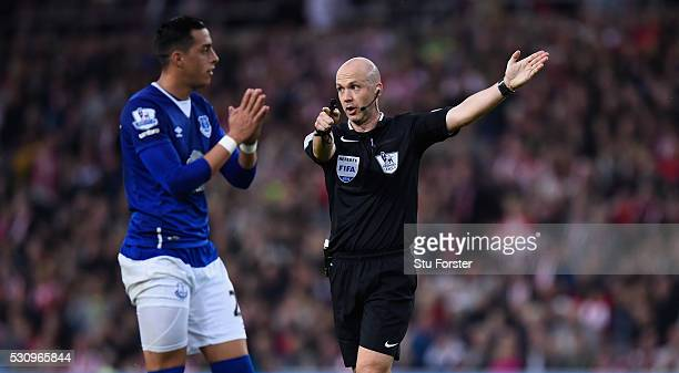 Referee Anthony Taylor reacts during the Barclays Premier League match between Sunderland and Everton at the Stadium of Light on May 11 2016 in...