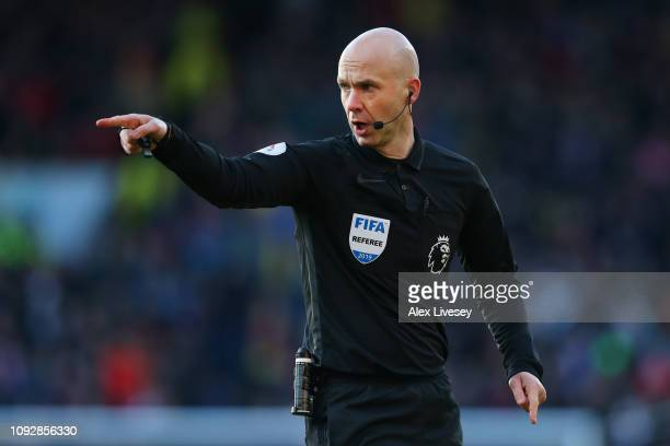 Referee Anthony Taylor reacts during the Premier League match between Burnley FC and Southampton FC at Turf Moor on February 2 2019 in Burnley United...