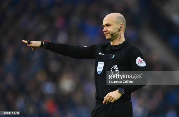 Referee Anthony Taylor signals during the Premier League match between Leicester City and Manchester United at The King Power Stadium on February 5...