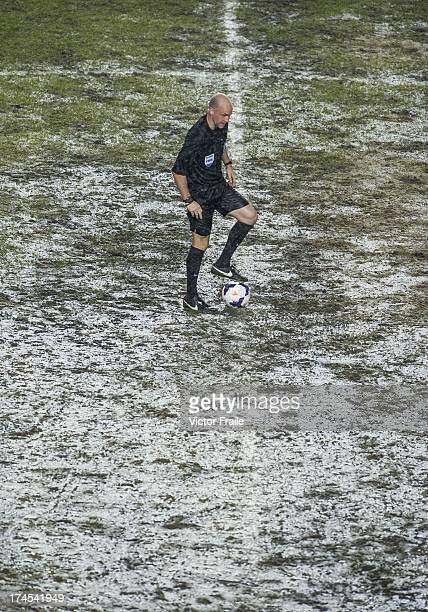 Referee Anthony Taylor stands with the ball before the begining of the second half during the Barclays Asia Trophy Final match between Manchester...