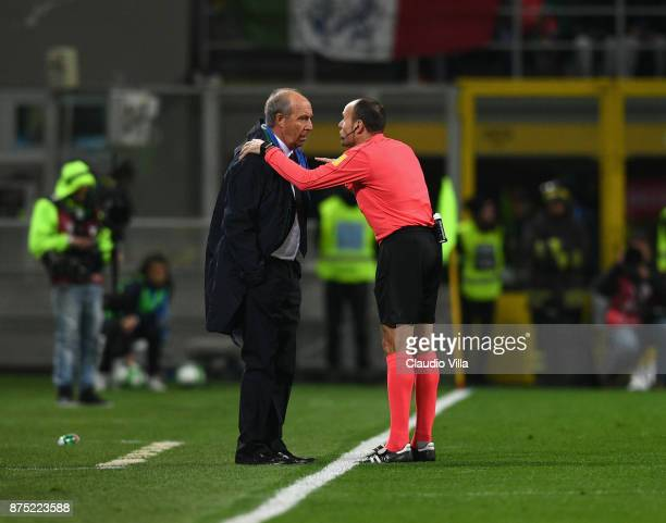 Referee Antonio Mateu Lahoz and head coach Italy Gian Piero Ventura chat during the FIFA 2018 World Cup Qualifier PlayOff Second Leg between Italy...