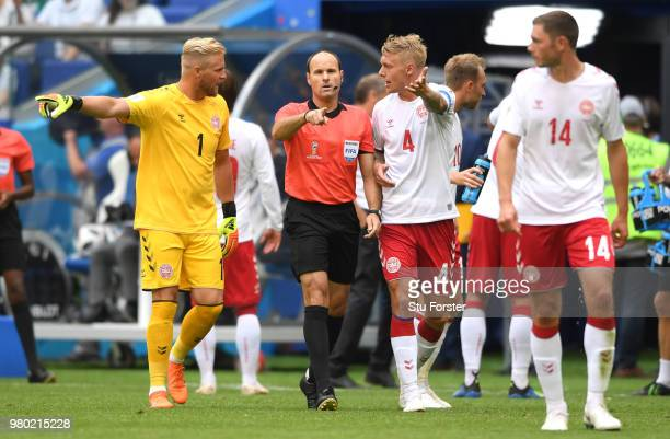 Referee Antonio Mateu Lahoz awards Australia a penalty after consulting VAR during the 2018 FIFA World Cup Russia group C match between Denmark and...