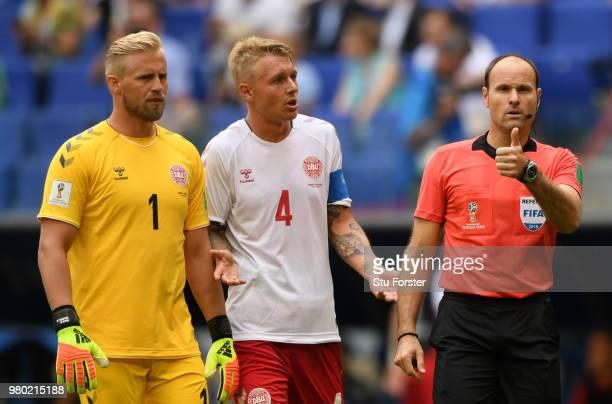 Referee Antonio Mateu Lahoz awards Australia a penalty during the 2018 FIFA World Cup Russia group C match between Denmark and Australia at Samara...