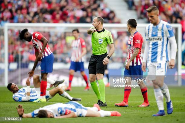 Referee Antonio Mateu Lahoz during the La Liga Santander match between Atletico Madrid v Leganes at the Estadio Wanda Metropolitano on March 9 2019...