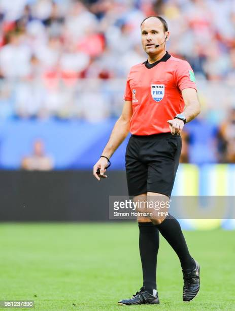 Referee Antonio Mateu Lahoz gestures during the 2018 FIFA World Cup Russia group C match between Denmark and Australia at Samara Arena on June 21...