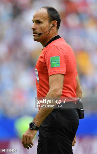 Referee Antonio Mateu Lahoz looks on during the 2018 FIFA World Cup Russia group C match between Denmark and Australia at Samara Arena on June 21...