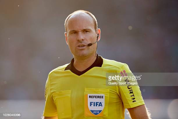 Referee Antonio Mateu Lahoz looks on during the La Liga match between RC Celta de Vigo and Club Atletico de Madrid at Abanca Balaidos Stadium on...