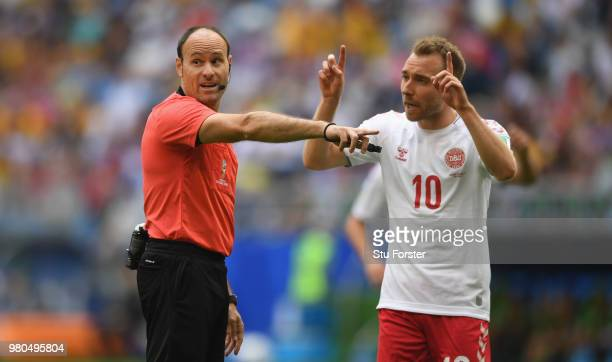Referee Antonio Mateu Lahoz makes a point to Denmark player Christian Eriksen during the 2018 FIFA World Cup Russia group C match between Denmark and...