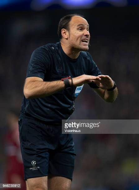 Referee Antonio Mateu Lahoz of Spain during the UEFA Champions League quarter final 2nd leg tie between Manchester City and Liverpool at the Etihad...