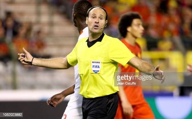 Referee Antonio Mateu Lahoz of Spain during the UEFA Nations League A group two match between Belgium and Switzerland at King Baudouin Stadium Stade...