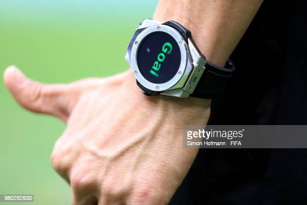 Referee Antonio Mateu Lahoz's watch is seen during the 2018 FIFA World Cup Russia group C match between Denmark and Australia at Samara Arena on June...
