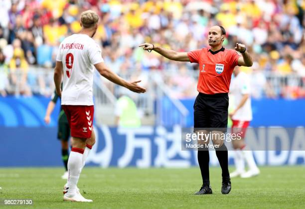 Referee Antonio Mateu requests a VAR check during the 2018 FIFA World Cup Russia group C match between Denmark and Australia at Samara Arena on June...