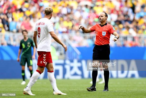 Referee Antonio Mateu speaks with Nicolai Jorgensen of Denmark during the 2018 FIFA World Cup Russia group C match between Denmark and Australia at...