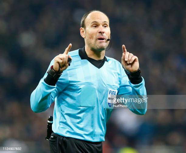Antonio Miguel Mateu Lahoz during Champion League Round of 16between Tottenham Hotspur and Borussia Dortmund at Wembley stadium London England on 13...