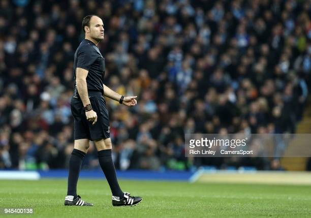 Referee Antonio Miguel Mateu Lahoz during the UEFA Champions League QuarterFinal Second Leg match between Manchester City and Liverpool at Etihad...