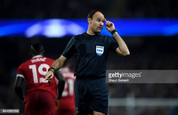 Referee Antonio Miguel Mateu Lahoz reacts during the UEFA Champions League Quarter Final Second Leg match between Manchester City and Liverpool at...