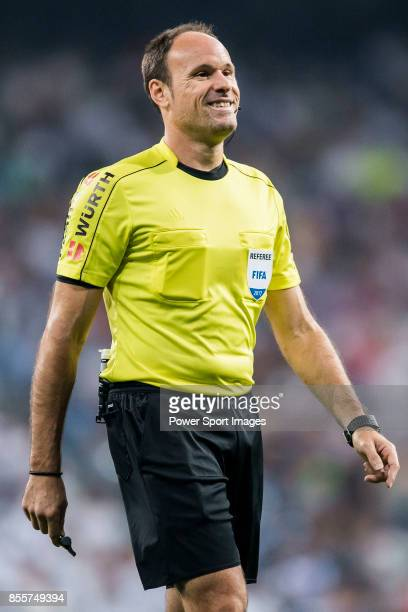 Referee Antonio Miguel Mateu Lahoz smiles during the La Liga 201718 match between Real Madrid and Real Betis at Estadio Santiago Bernabeu on 20...