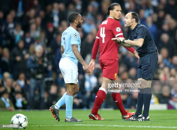 Referee Antonio Miguel Mateu Lahoz speaks with Manchester City's Raheem Sterling during the UEFA Champions League Quarter Final at the Etihad Stadium...