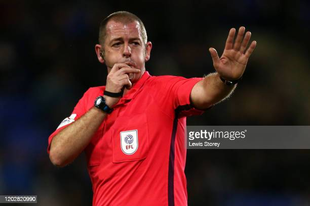 Referee Antony Coggins blows his whistle during the Sky Bet League One match between Tranmere Rovers and Sunderland at Prenton Park on January 29,...