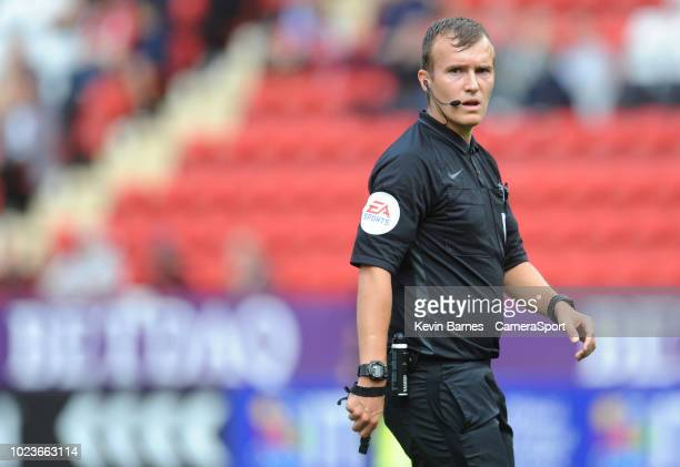 Referee Antony Coggins during the Sky Bet League One match between Charlton Athletic and Fleetwood Town at The Valley on August 25 2018 in London...
