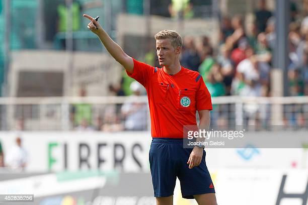 Referee Arne Aarnink during the Third League match between Preussen Muenster and Hansa Rostock at Preussenstadion on July 27 2014 in Muenster Germany