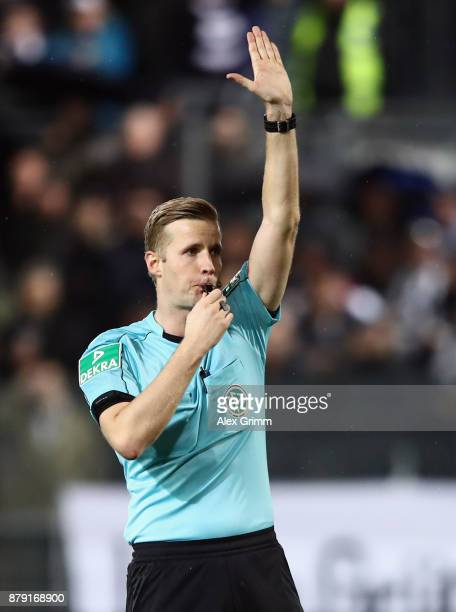 Referee Arne Aarnink reacts during the Second Bundesliga match between SV Sandhausen and 1 FC Heidenheim 1846 at BWTStadion am Hardtwald on November...