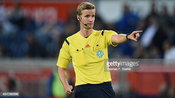 Referee Arne Aarnink reacts during the Third League match between MSV Duisburg and Arminia Bielefeld at SchauinslandReisenArena on August 27 2014 in...