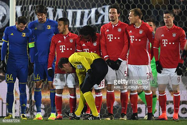 Referee Artur Dias sprays a line for a free kick during the UEFA Champions League football match between FC Rostov and FC Bayern Munich at...