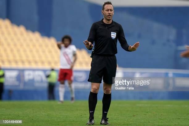 Referee Artur Soares Dias in action during the Liga Pro match between GD Estoril Praia and UD Vilafranquense at Estadio Antonio Coimbra da Mota on...