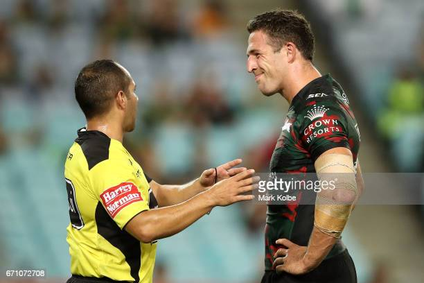 Referee Ashley Klein speaks to Sam Burgess of the Rabbitohs during the round eight NRL match between the South Sydney Rabbitohs and the Brisbane...