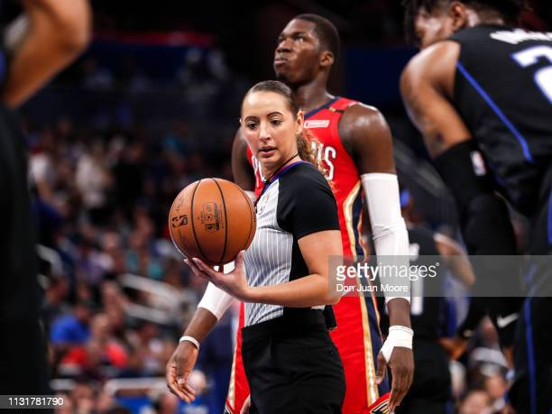 Referee Ashley MoyerGleich at the free throw line during the game with the Orlando Magic against the New Orlean Pelicans at the Amway Center on March...