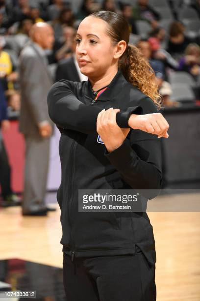 Referee Ashley MoyerGleich before the game between the Los Angeles Lakers and the San Antonio Spurs on December 7 2018 at ATT Center in San Antonio...
