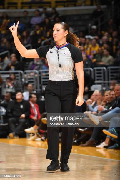 Referee Ashley MoyerGleich during the game between the Chicago Bulls and the Los Angeles Lakers on January 15 2019 at STAPLES Center in Los Angeles...