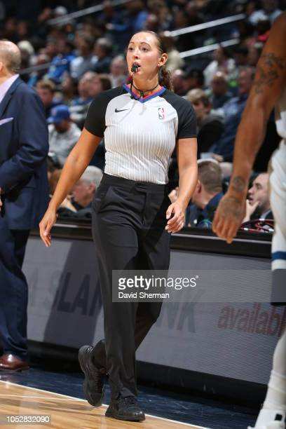 Referee Ashley MoyerGleich during the game between the Minnesota Timberwolves and the Indiana Pacers on October 22 2018 at Target Center in...