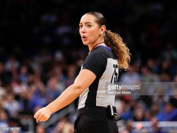 Referee Ashley MoyerGleich during the game with the Orlando Magic against the New Orlean Pelicans at the Amway Center on March 20 2019 in Orlando...