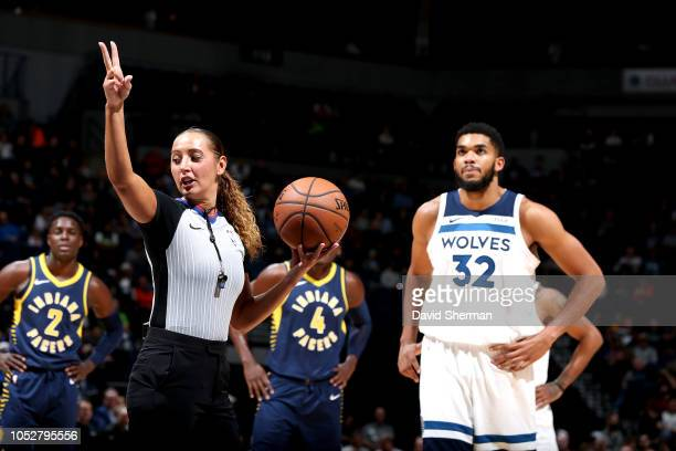 Referee Ashley MoyerGleich handles the ball between the Indiana Pacers and the Minnesota Timberwolves on October 22 2018 at Target Center in...