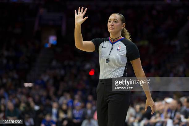 Referee Ashley MoyerGleich in action during the first quarter of the game between the Atlanta Hawks and Philadelphia 76ers at the Wells Fargo Center...