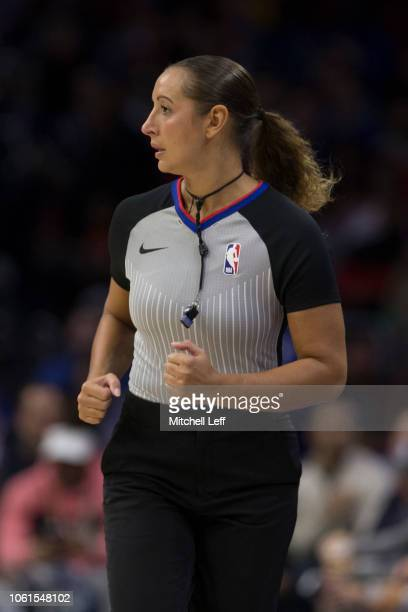 Referee Ashley MoyerGleich in action during the game between the Atlanta Hawks and Philadelphia 76ers at the Wells Fargo Center on October 29 2018 in...