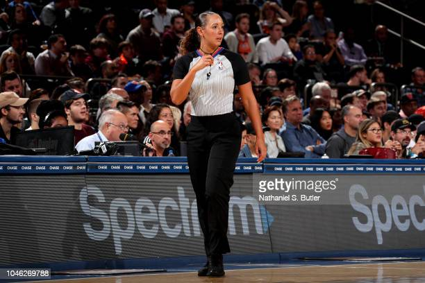 Referee Ashley MoyerGleich looks on between the New Orleans Pelicans and the New York Knicks during a preseason game on October 5 2018 at Madison...