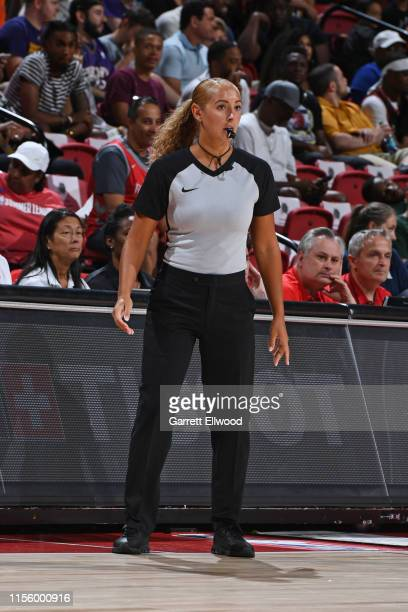 Referee Ashley MoyerGleich looks on during Day 5 of the 2019 Las Vegas Summer League between the Indiana Pacers and the Atlanta Hawks on July 9 2019...
