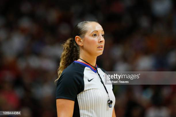 Referee Ashley MoyerGleich looks on during the first half between the Miami Heat and the New York Knicks at American Airlines Arena on October 24...