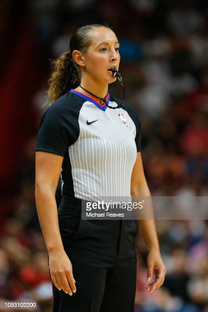 Referee Ashley MoyerGleich looks onduring the first half between the Miami Heat and the New York Knicks at American Airlines Arena on October 24 2018...
