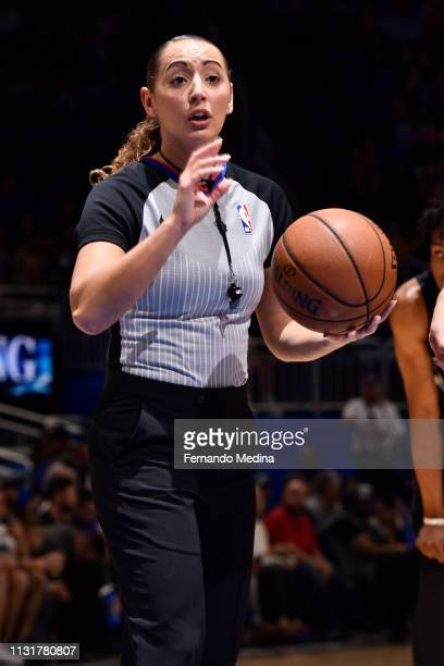 Referee Ashley MoyerGleich makes a call during the game between the New Orleans Pelicans and Orlando Magic on March 20 2019 at Amway Center in...