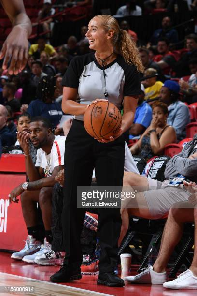 Referee Ashley MoyerGleich smiles during Day 5 of the 2019 Las Vegas Summer League between the Indiana Pacers and the Atlanta Hawks on July 9 2019 at...