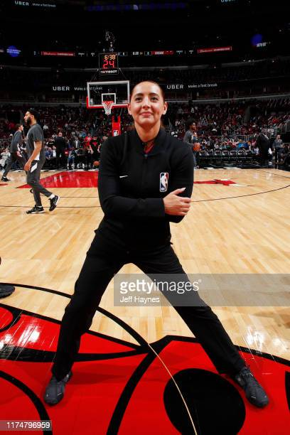 Referee Ashley MoyerGleich smiles prior to a game between the New Orleans Pelicans and the Chicago Bulls before a preseason game on October 8 2019 at...
