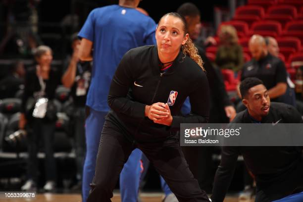 Referee Ashley MoyerGleich stretches before the New York Knicks game against the Miami Heat on October 24 2018 at American Airlines Arena in Miami...