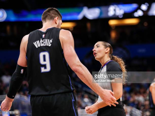 Referee Ashley MoyerGleich talk with Nikola Vucevic of the Orlando Magic during the game with the New Orlean Pelicans at the Amway Center on March 20...