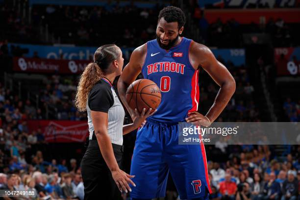 Referee Ashley MoyerGleich talks with Andre Drummond of the Detroit Pistons during the game between the Detroit Pistons and the Oklahoma City Thunder...