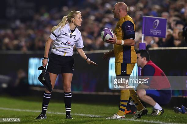 Referee Assistant Joy Neville directs James Hall of Bristol during the European Rugby Challenge Cup Pool Four match between Bath Rugby and Bristol...